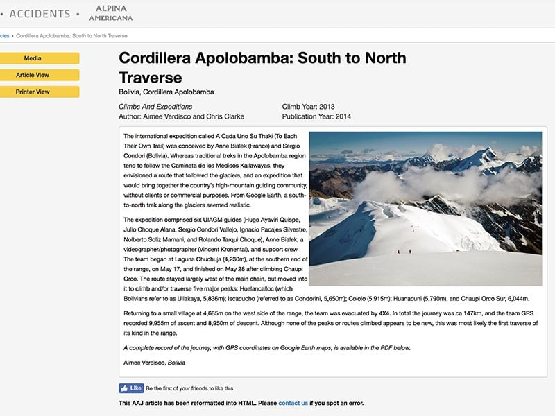 American Alpine Journal – Cordillera Apolobamba